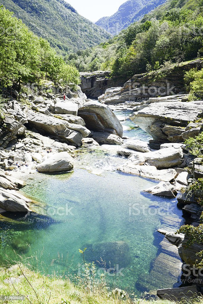 The river Verzasca at Lavertezzo on Verzasca valley stock photo