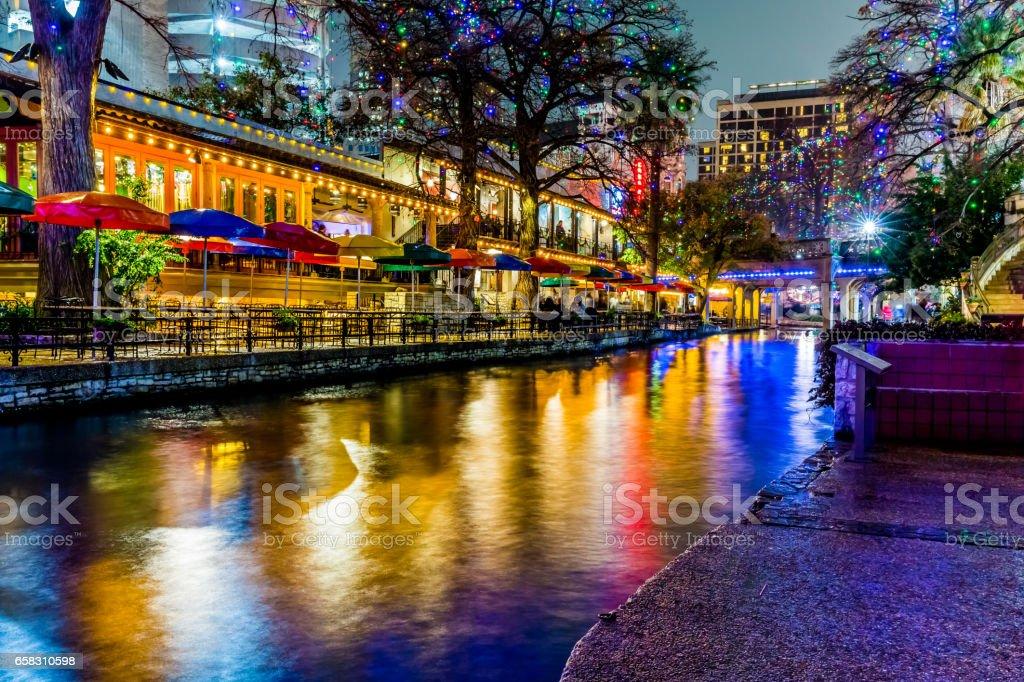 The Riverwalk at San Antonio, Texas, at Night. stock photo