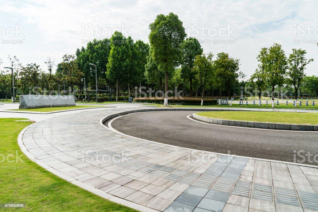Die Straße und die Bänke sind im Park, Chongqing, china - Lizenzfrei Alt Stock-Foto
