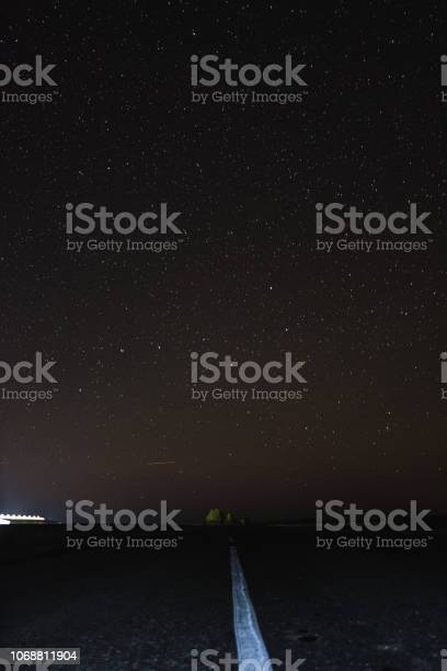 Photo of The road at night under the starry sky