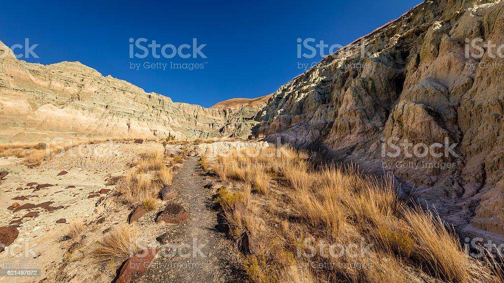 The road between the rocks. The unusual color. Dry landscape. photo libre de droits