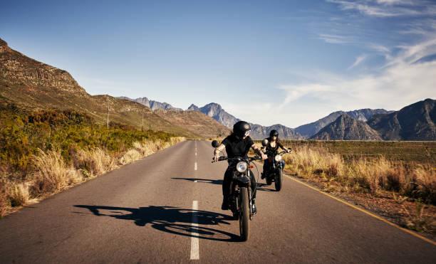 The road is a biker's best friend stock photo