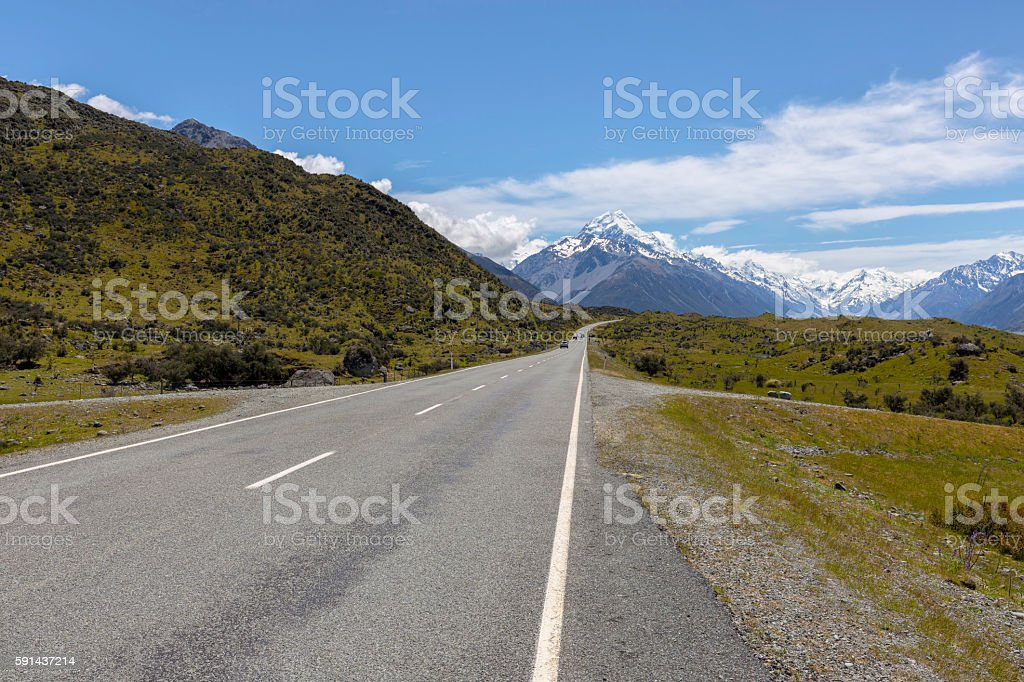 The road leading to Mount Cook Village, NZ stock photo