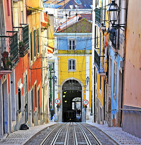 the road of the bica funicular - lissabon reise stock-fotos und bilder