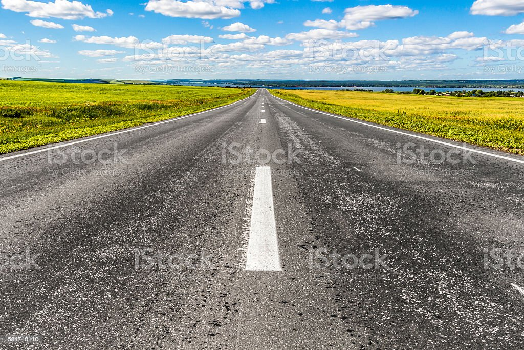 The road receding into the distance stock photo