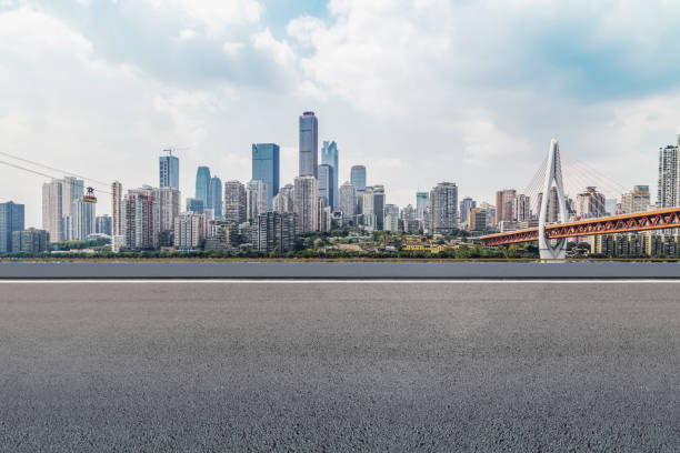 The road, the ground, and the beautiful skyline of Chongqing stock photo