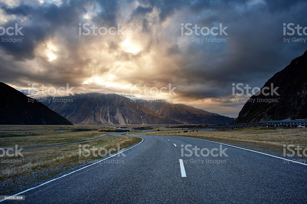 The Road Through Mt Cook National Park stock photo