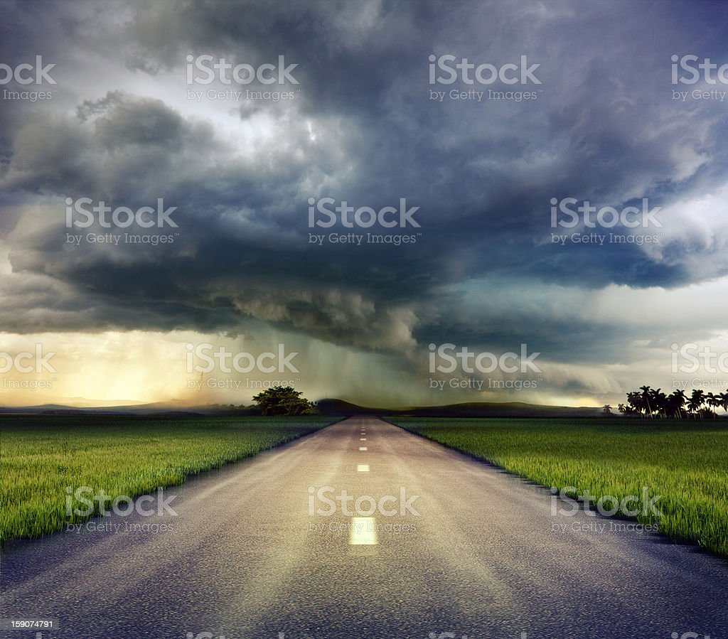 the road to storm stock photo