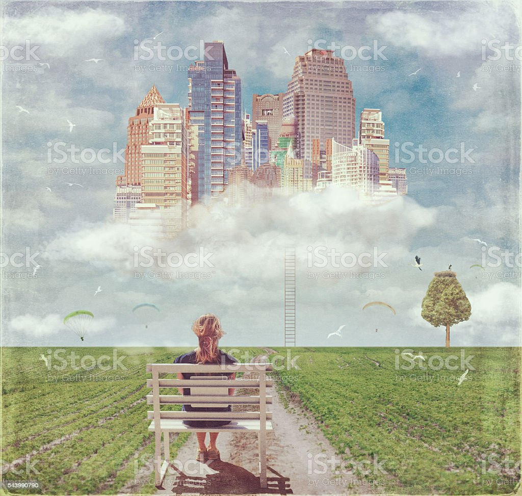 The road to the future city on the cloud stock photo