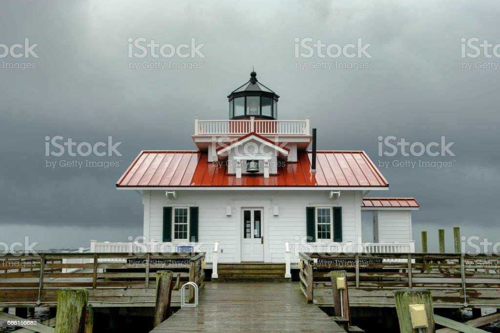 The Roanoke Marsh Lighthouse during a severe rain and Thunderstorm stock photo