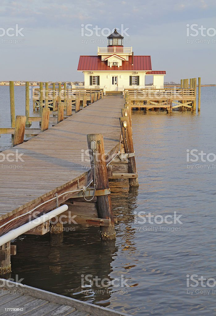 The Roanoke Marshes Lighthouse in Manteo, North Carolina vertica stock photo