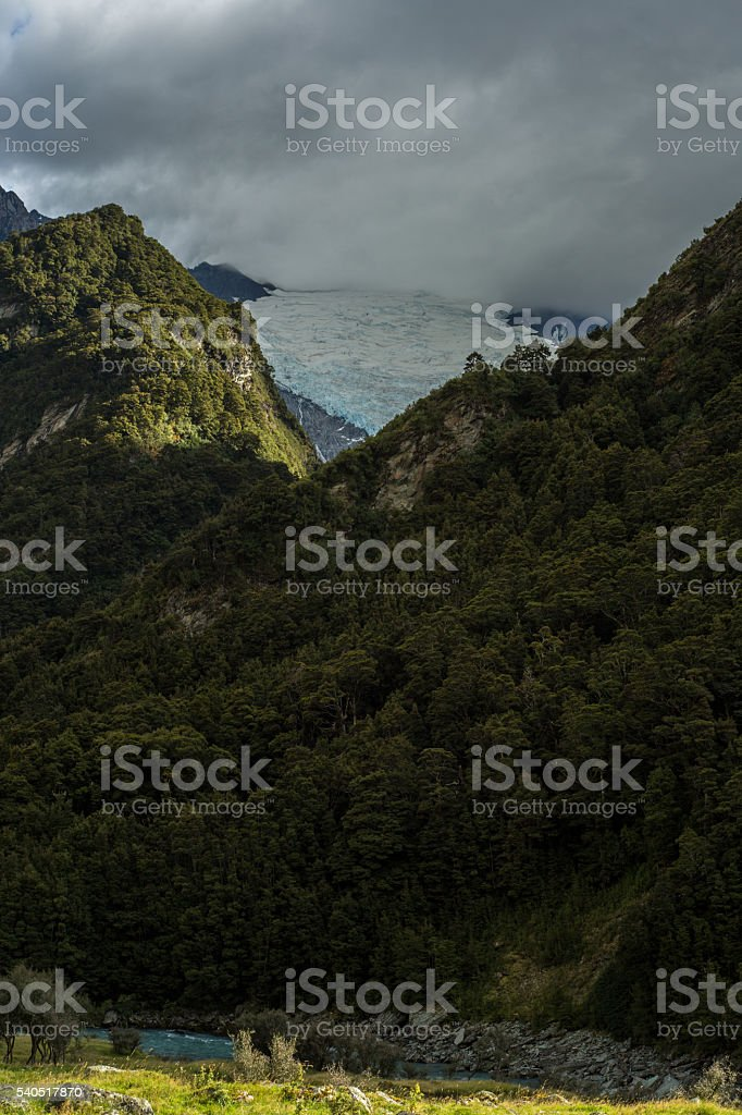 The Rob Roy glacier in the Mount Aspiring national park stock photo