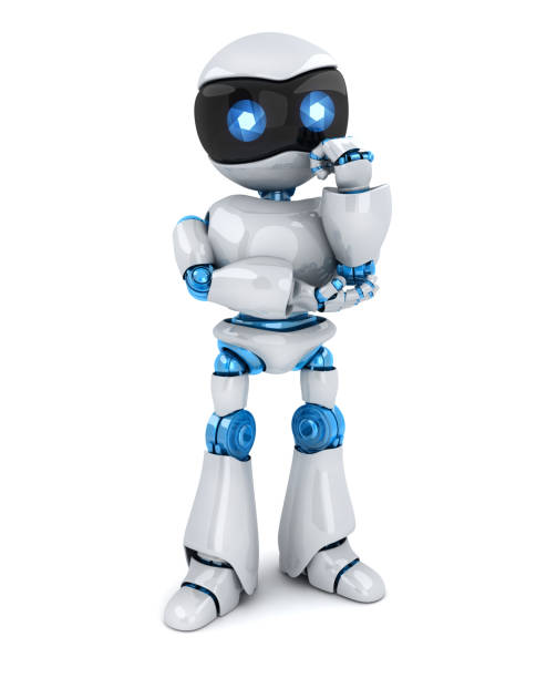 The robot stands and thinks The robot stands and thinks on white background. 3d illustration deem stock pictures, royalty-free photos & images