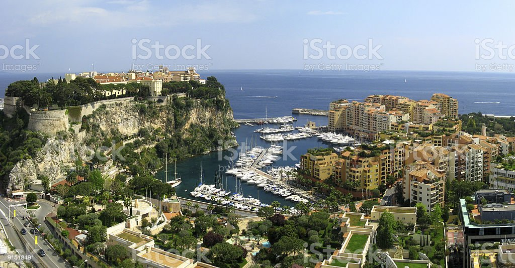 The Rocher and Fontvieille in Monaco royalty-free stock photo