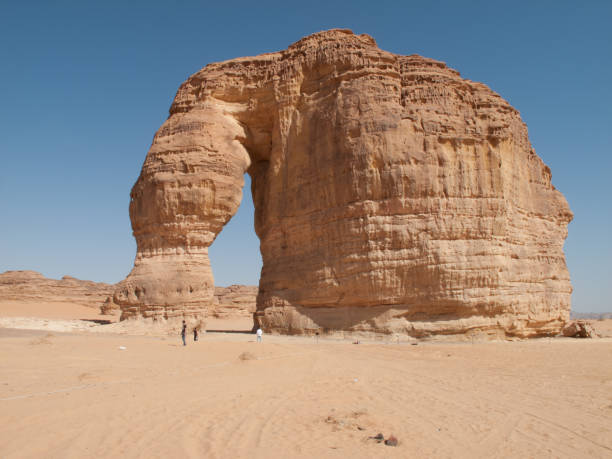 The rock formation known as the Elephant Rock in Al Ula, Saudi Arabia (KSA). stock photo