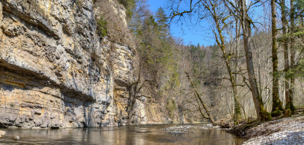 The rock gallery in the Wutach gorge. stock photo