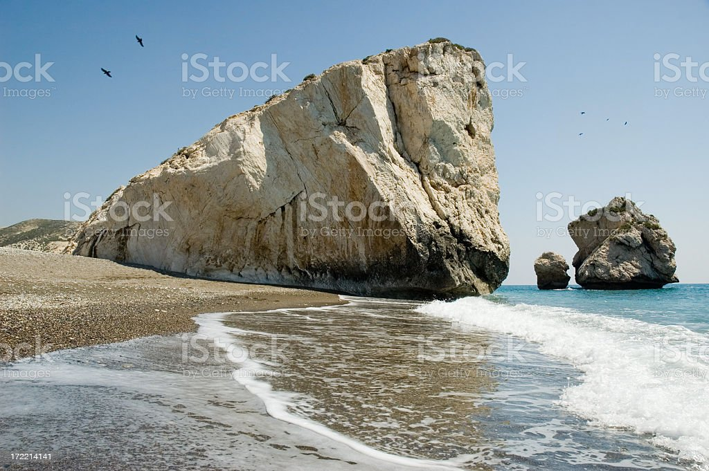The Rock of Aphrodite on a clear day stock photo