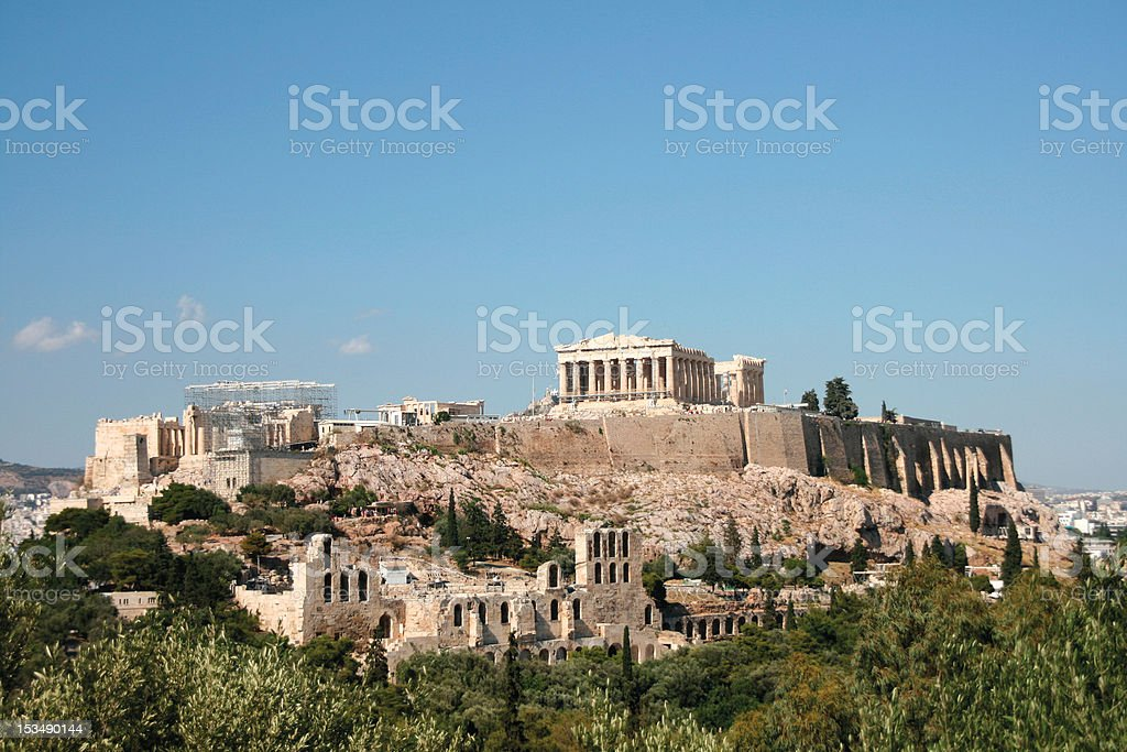 the rock of parthenon stock photo