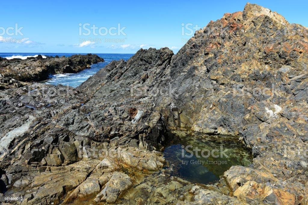 The rock pools of Hallidays Point Australia stock photo