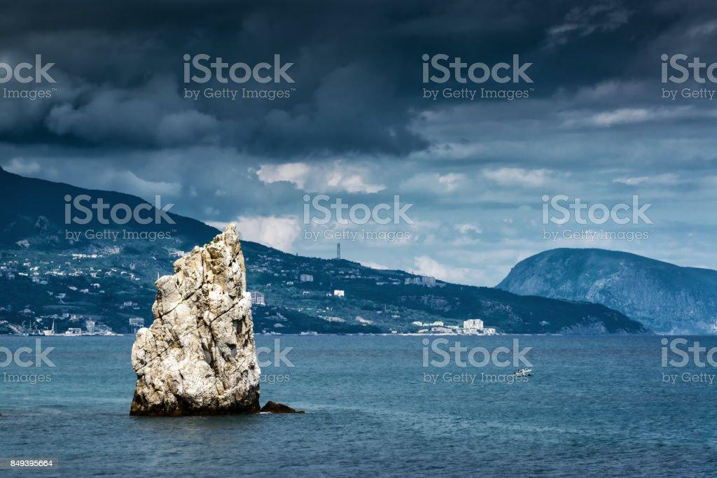 The rock Sail in the Black Sea in Crimea stock photo