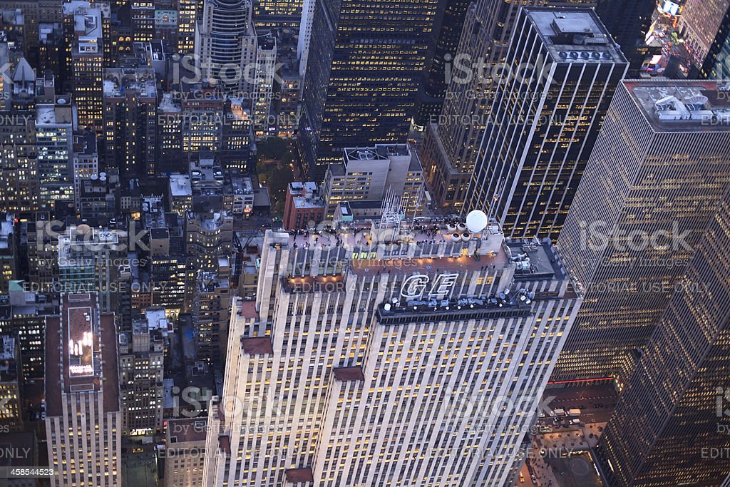 The Rockefeller Center in Manhattan from above stock photo