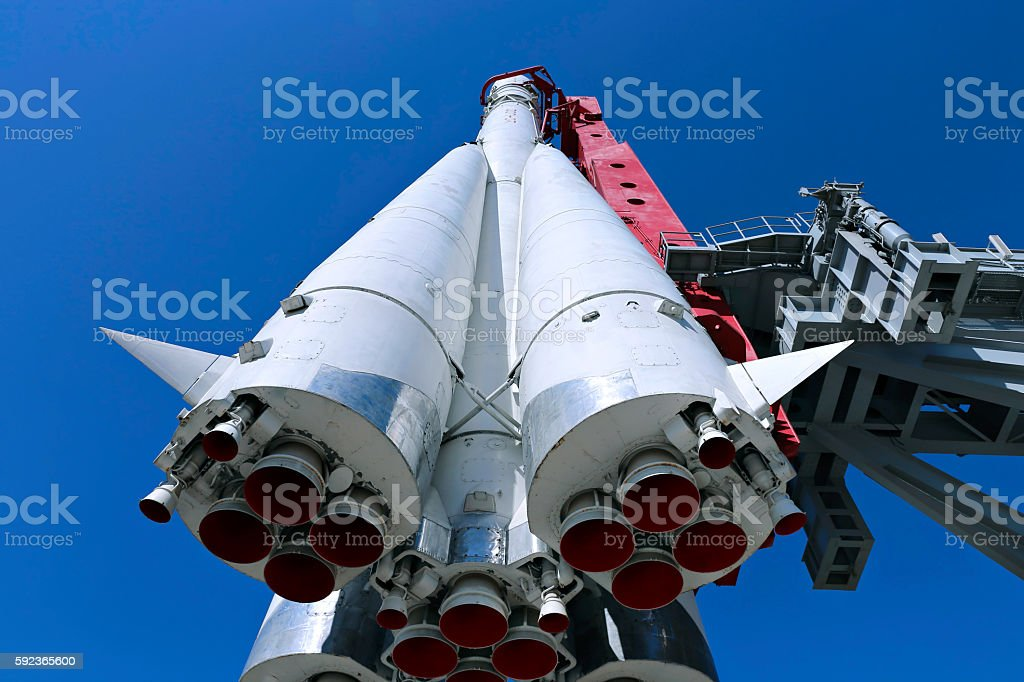The rocket Vostok on the launch pad stock photo