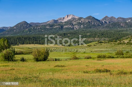 Mountain range above a ranch and grasslands