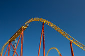 The roller coaster attraction on the sky background