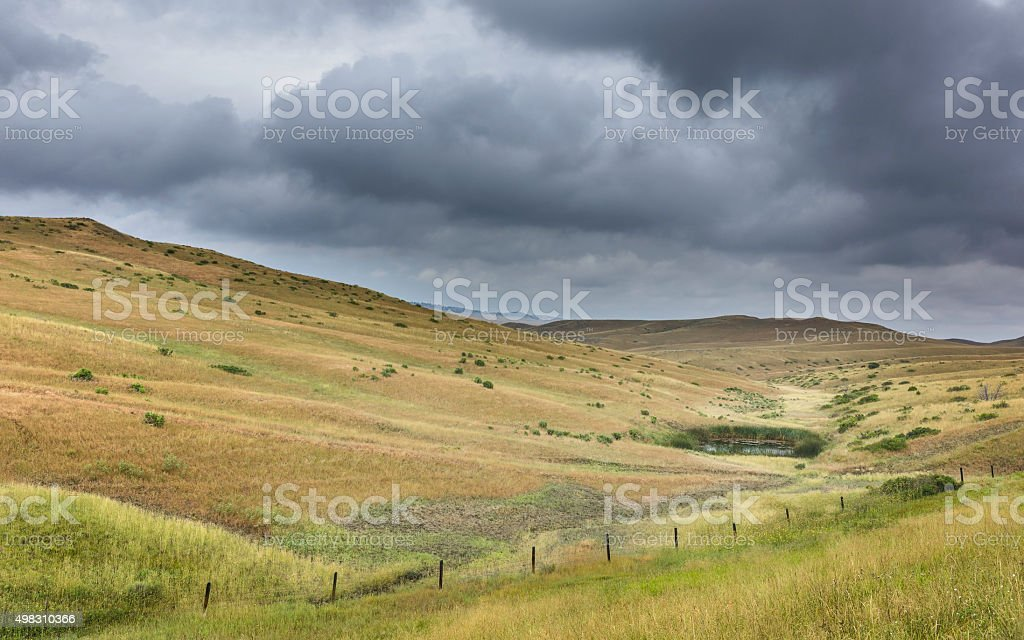 The rolling landscape of the Prairie, Billings, Montana, USA. stock photo