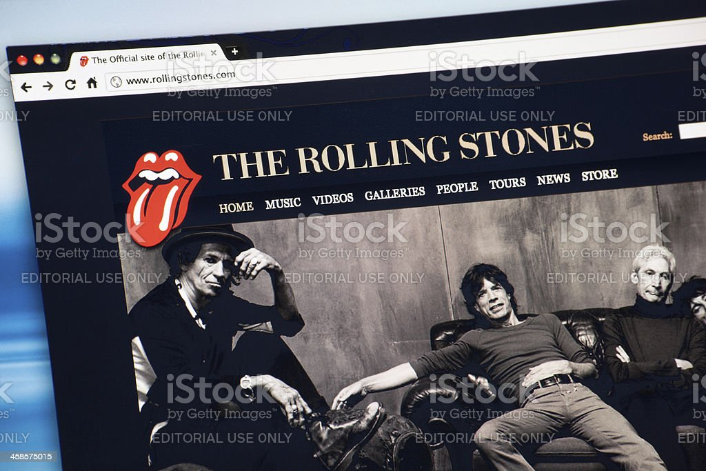 The Rolling Stones Internet Web Site stock photo