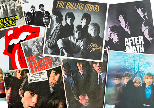 Gothenburg, Sweden - September 26, 2015:  The Rolling Stones are an English rock band formed in London in 1962. This image shows some of their vinyl record covers from the sixties.