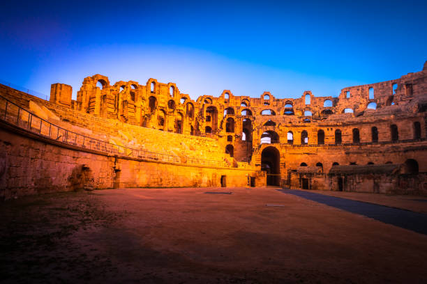 The Roman amphitheater of Thysdrus in El Djem or El-Jem, a town in Mahdia governorate of Tunisia. stock photo