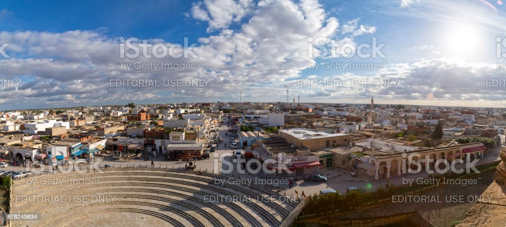The Roman amphitheater of Thysdrus in El Jem, Tunisia stock photo
