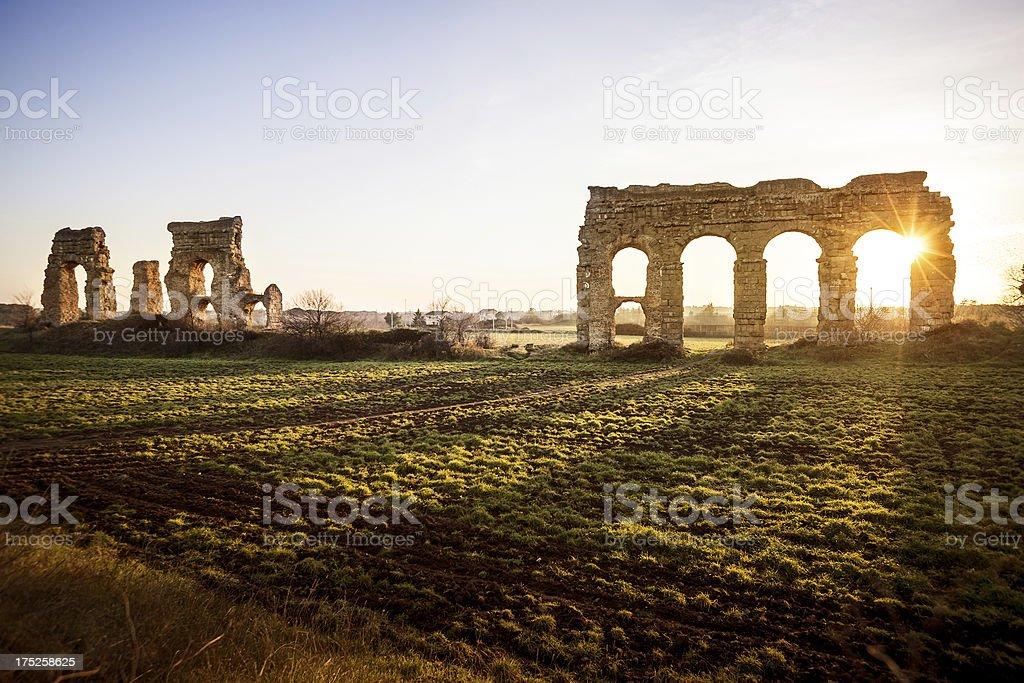 The Roman Aqueduct at Parco degli Acquedotti royalty-free stock photo