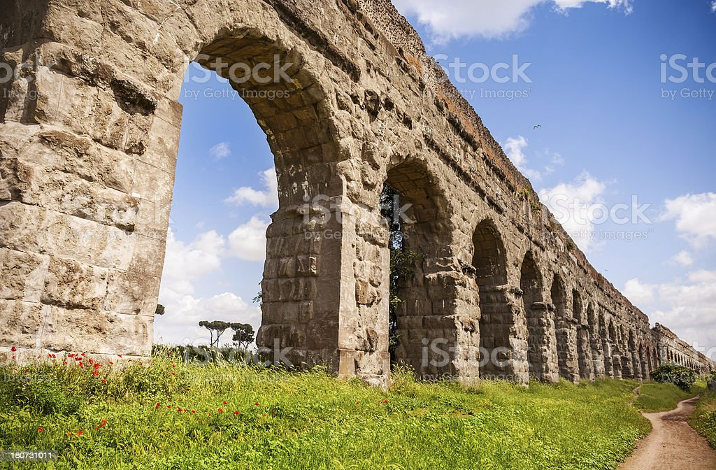 The Roman Aqueduct in Rome stock photo