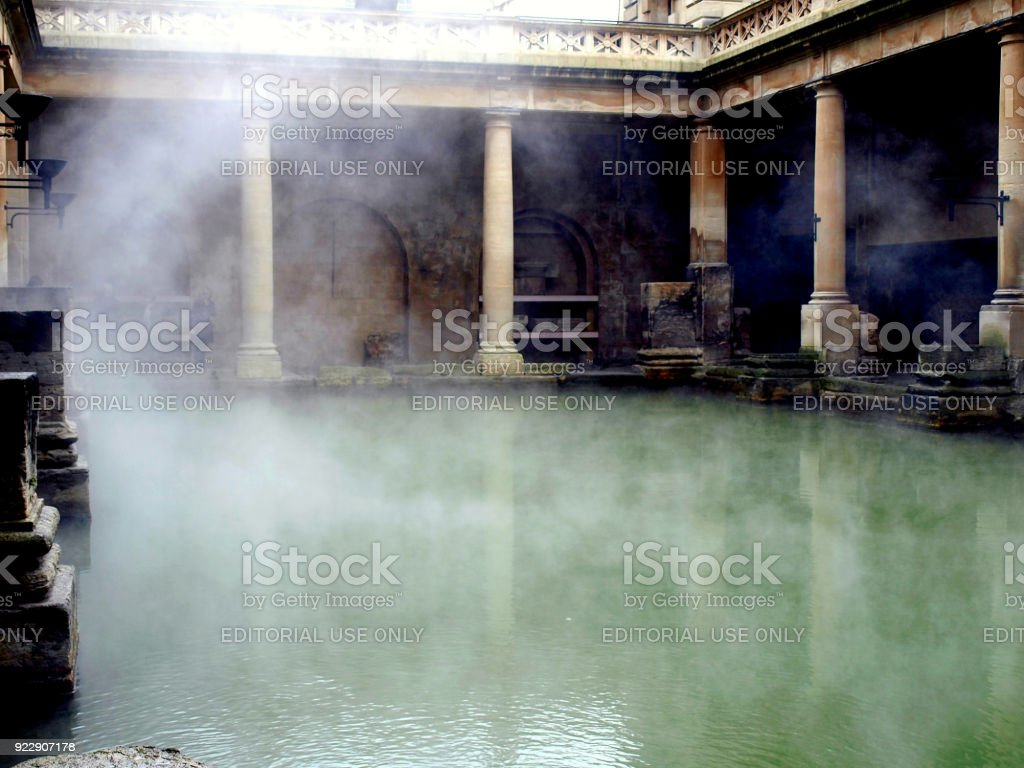 The Roman Bath, Bath, Somerset, UK. stock photo