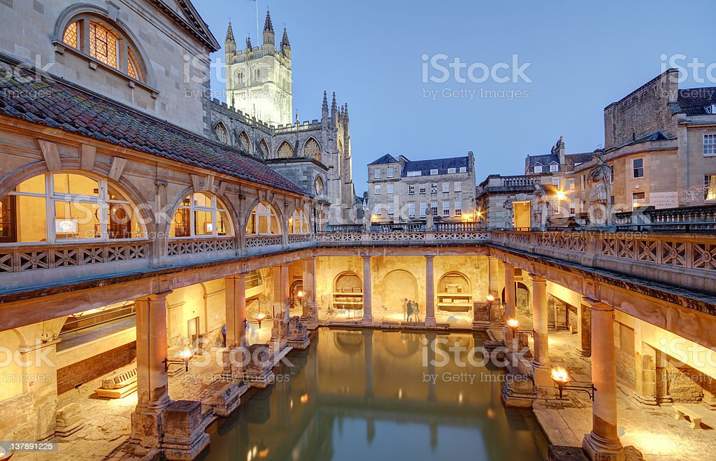 The Roman Baths in Bath, England stock photo