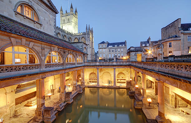 The Roman Baths in Bath, England Old roman baths at bath, england, built on the site of the godess aquae suilis  bath england stock pictures, royalty-free photos & images