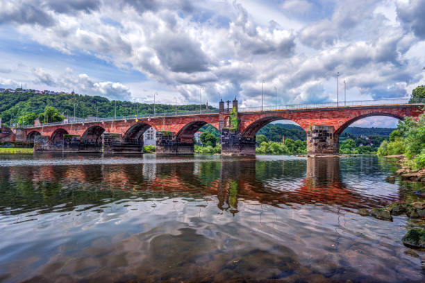 The Roman bridge in Trier stock photo