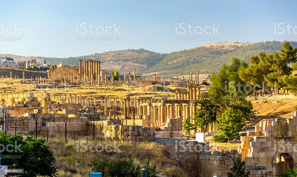 The Roman city of Gerasa - Jordan stock photo
