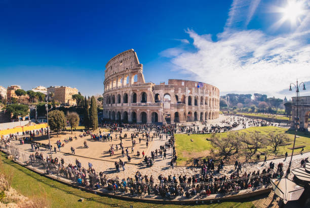 The Roman Colosseum in Rome, Italy, HDR panorama stock photo