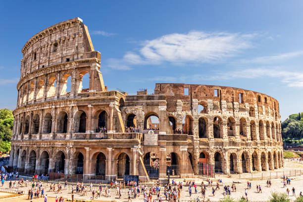 The Roman Colosseum in summer The Roman Colosseum in summer, Italy rome italy stock pictures, royalty-free photos & images