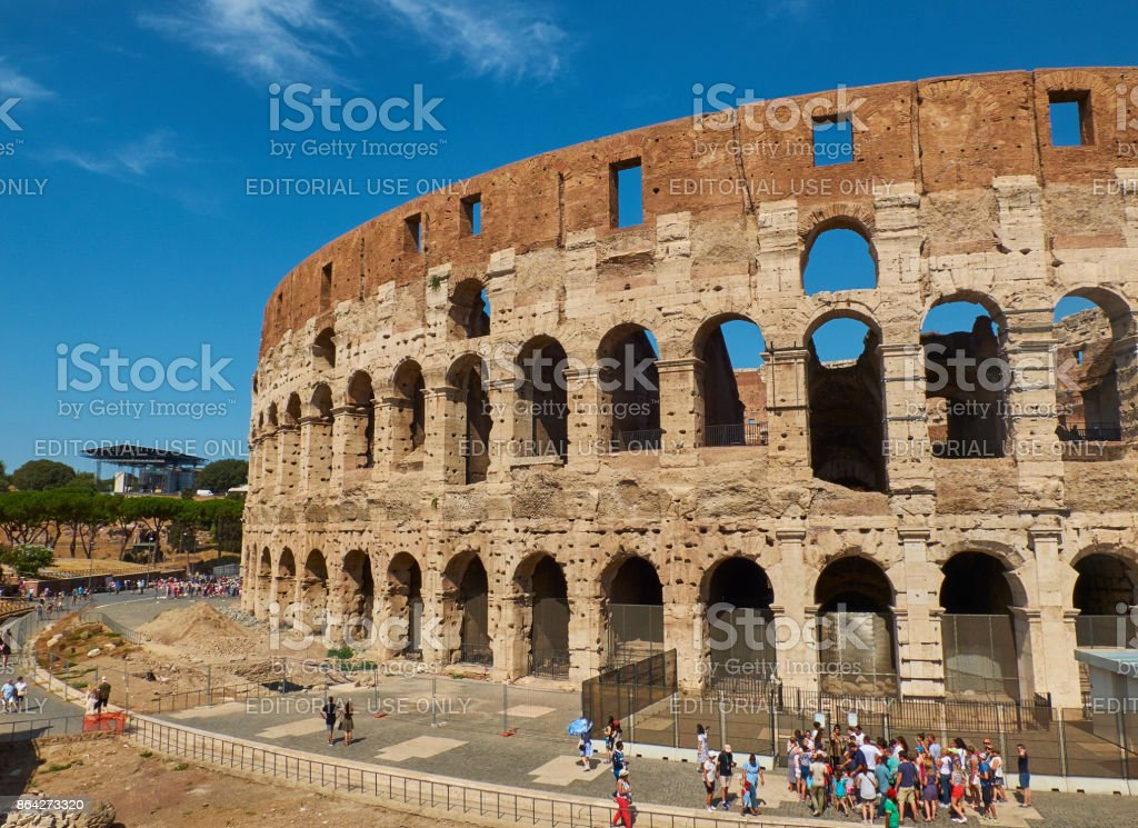 The roman Colosseum, view from Piazza del Colosseo square. Lazio. royalty-free stock photo