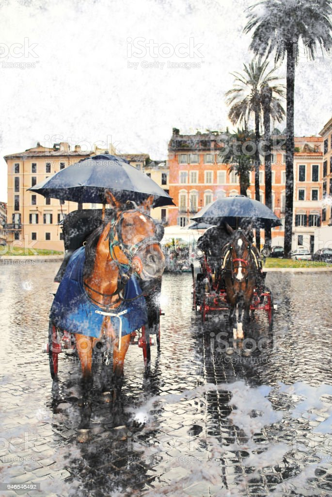 The Roman elite horses on the Square of Spain. stock photo