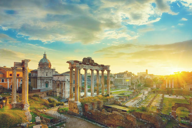 The Roman Forum at sunrise, Rome, Italy stock photo