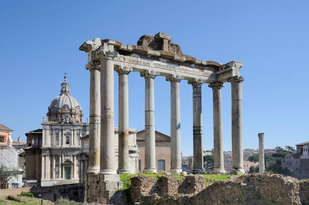 The Roman Forum The Roman Forum, the ruins of several constructions. The columns on the first plane are the temple of Saturn. Rome, Italy. Photo without people roman forum stock pictures, royalty-free photos & images