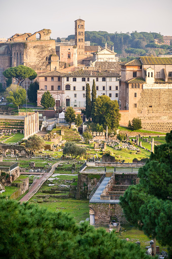 The Forum of Ceasar, an area known as the Roman Forum Archaeological Park, take from the Altare della Patria viewpoint. The Roman Forum its one of the largest archaeological areas in the world. Image in High Definition format