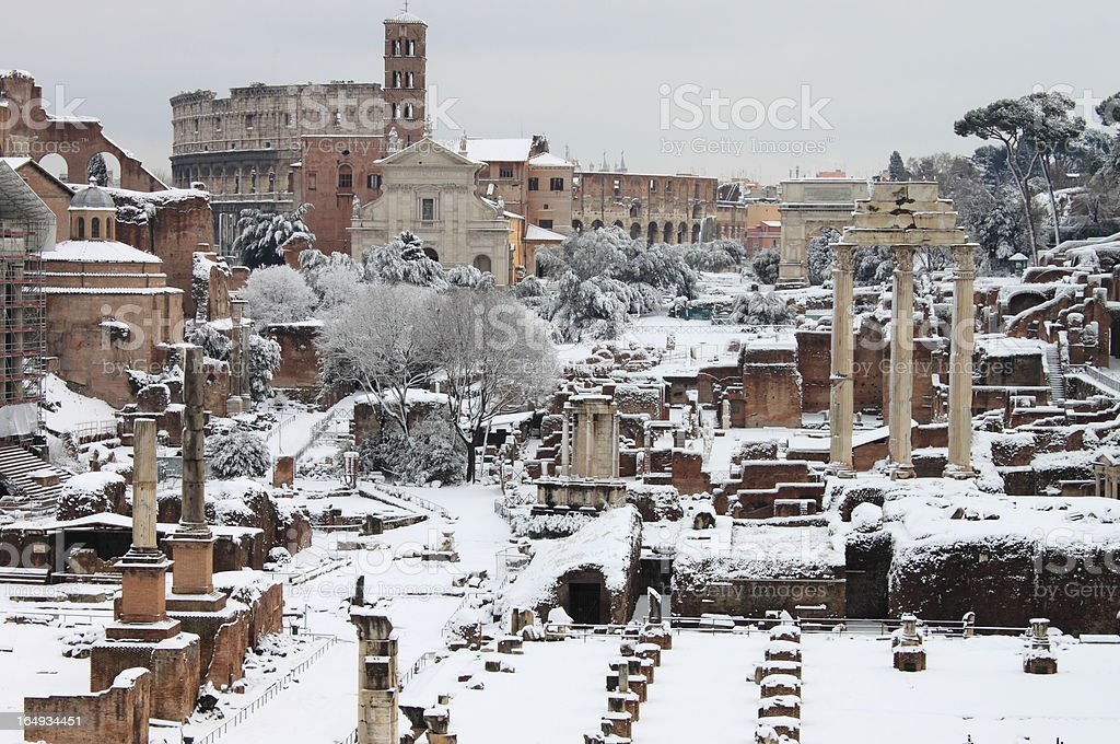 The Roman Forum under snow royalty-free stock photo