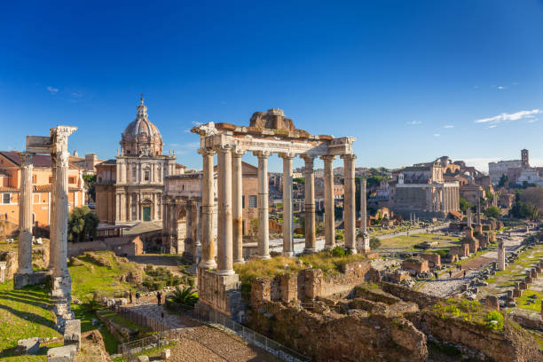 The Roman Forum view, city square in ancient Rome The Roman Forum view, city square in ancient Rome, Italy rome italy stock pictures, royalty-free photos & images