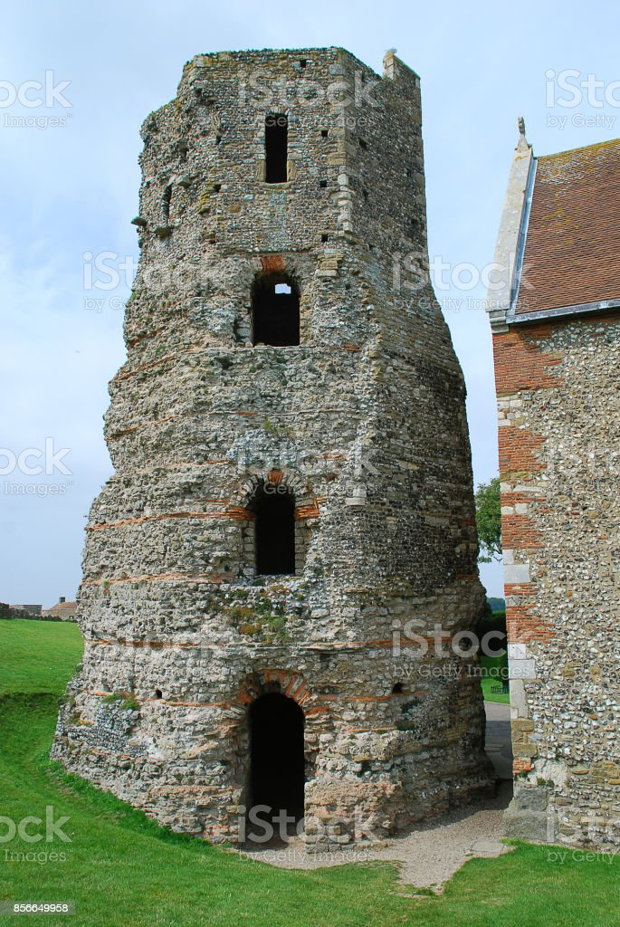The Roman lighthouse at Dover Castle stock photo